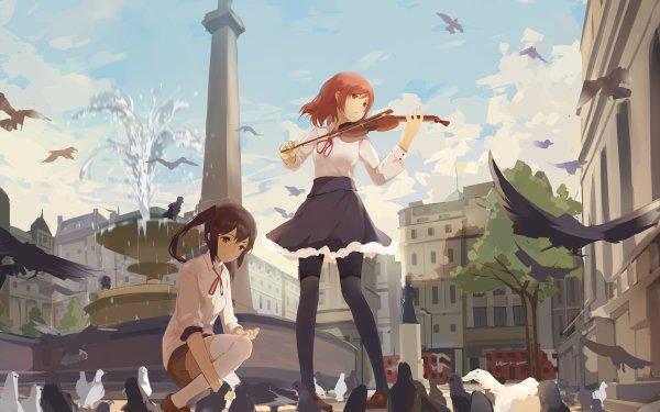 Anime Love Live! Pigeon Fountain Violinist Maki Nishikino Nico Yazawa HD Wallpaper | Background Image