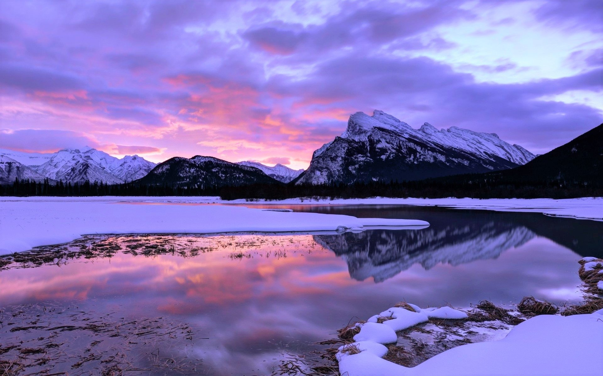 Pink Sunset And Clouds Over Winter Mountain And Lake Hd Wallpaper