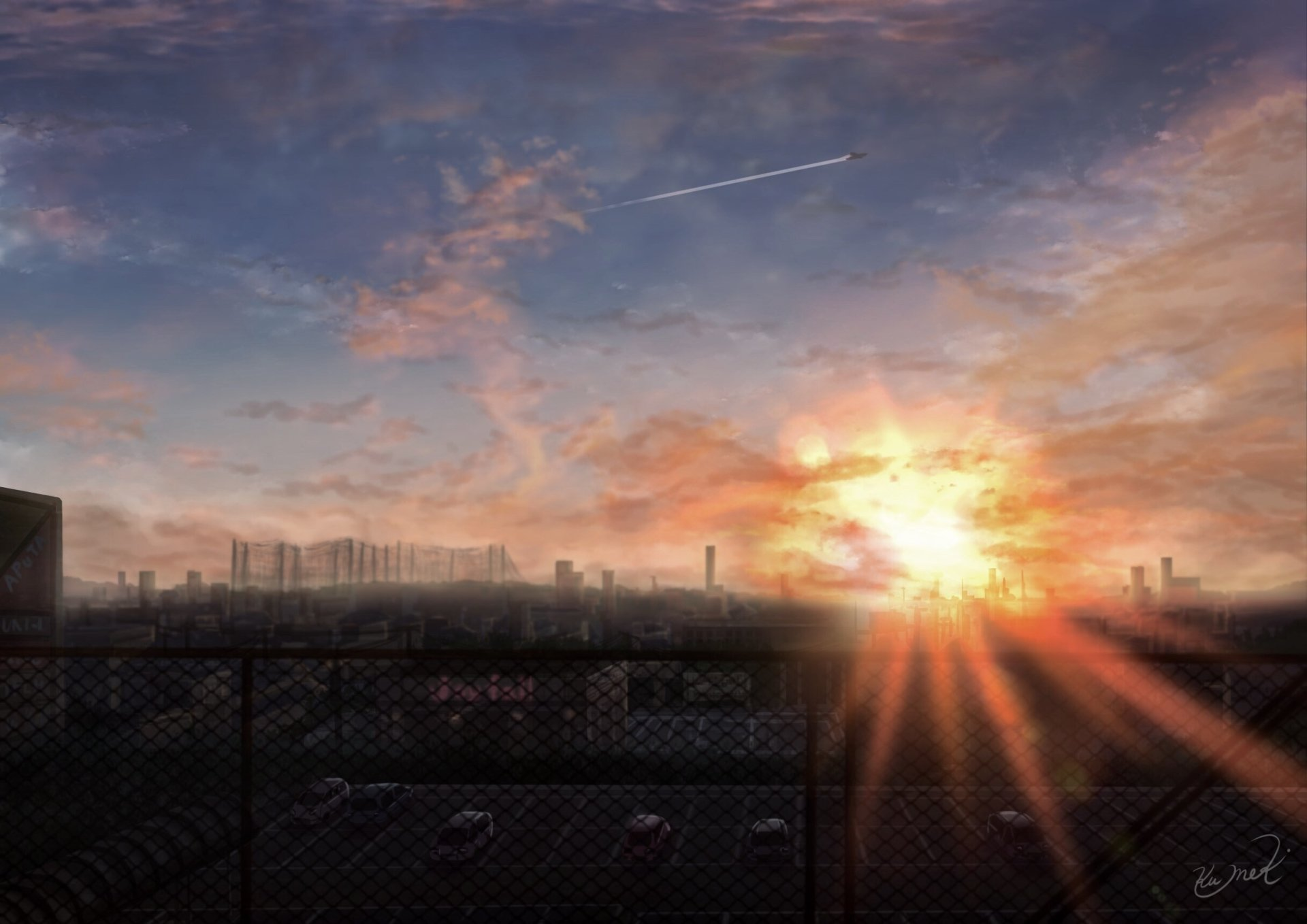 Anime - Original  Sunset Fence City Sky Cloud Parking Lot Wallpaper