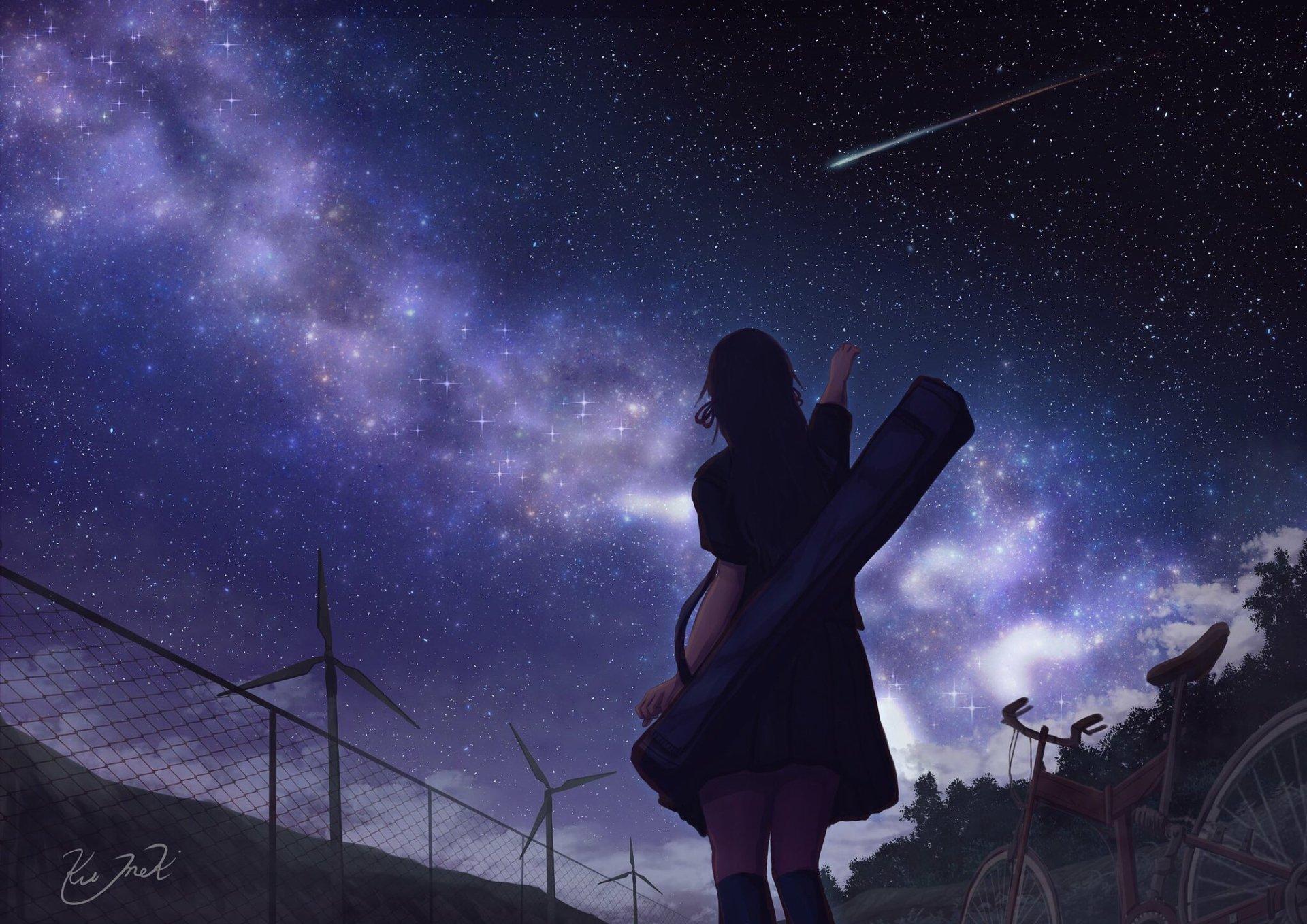 Anime - Original  Sky Stars Nebula Fence Wind Turbine Bike Forest Girl Wallpaper
