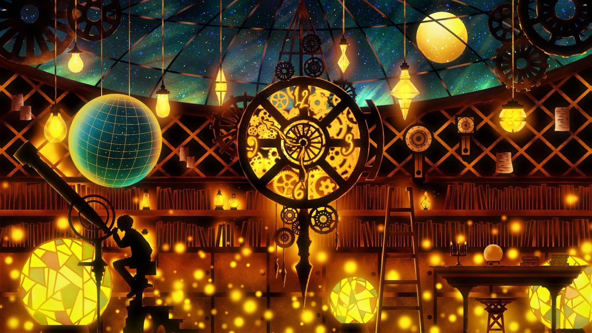 艺术 - 奇幻  艺术 Boy Telescope Observatory 魔法 Colorful 光 壁纸
