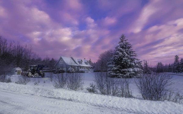 Fotografía Invierno Cielo Nube Púrpura Casa Granja Tractor Country Snow Atardecer Árbol Fondo de pantalla HD | Fondo de Escritorio