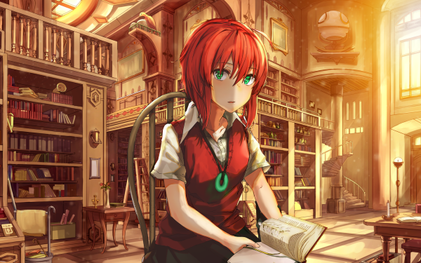 Anime The Ancient Magus' Bride Chise Hatori Library Red Hair Short Hair Green Eyes HD Wallpaper | Background Image