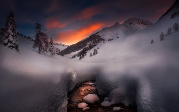 Earth Winter Nature Snow Stream Sunset HD Wallpaper | Background Image