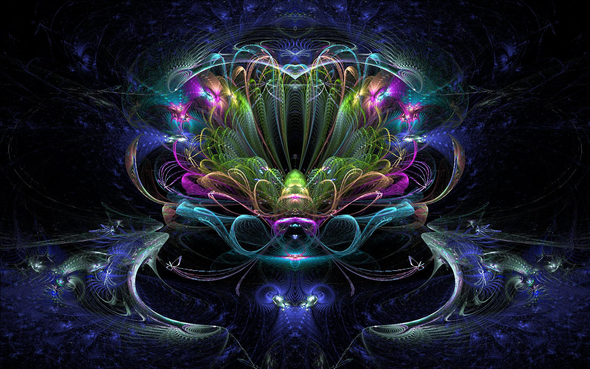 Abstrakt - Fractal  Abstrakt Neon Colorful Bakgrund