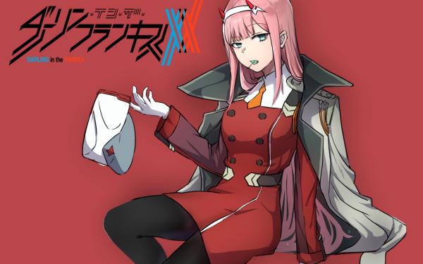 Anime Darling in the FranXX Zero Two Long Hair Pink Hair Green Eyes Horns Hat Lollipop Coat Uniform Glove HD Wallpaper | Background Image