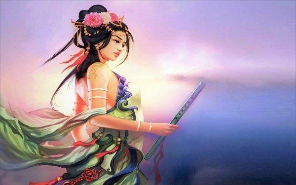 Fantasy Women Japanese Flute Flower HD Wallpaper | Background Image