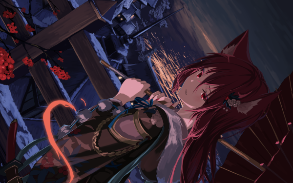 Anime Original Long Hair Red Hair Japanese Clothes Cat Girl Animal Ears Red Eyes Sword Weapon Umbrella Building Water HD Wallpaper | Background Image