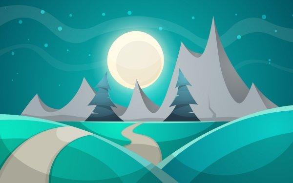 Artistic Mountain Night Moon HD Wallpaper | Background Image