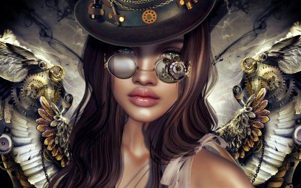 Fantasy Women Steampunk Wings HD Wallpaper | Background Image