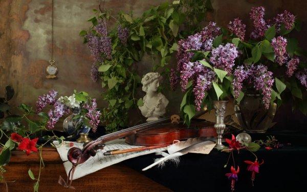 Photography Still Life Flower Violin Instrument Sheet Music Fuchsia Feather Pocket Watch Vase Bust HD Wallpaper | Background Image
