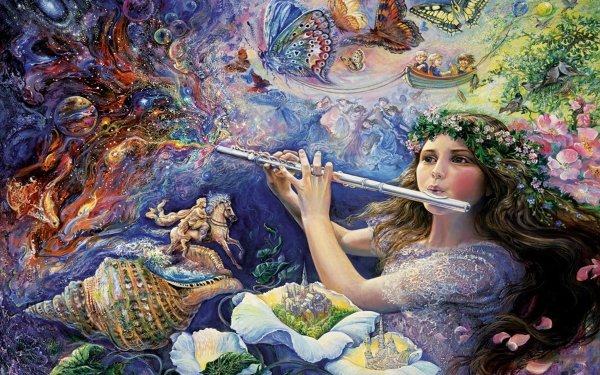 Artistic Painting Flute Fantasy Colorful Shell Flower HD Wallpaper | Background Image