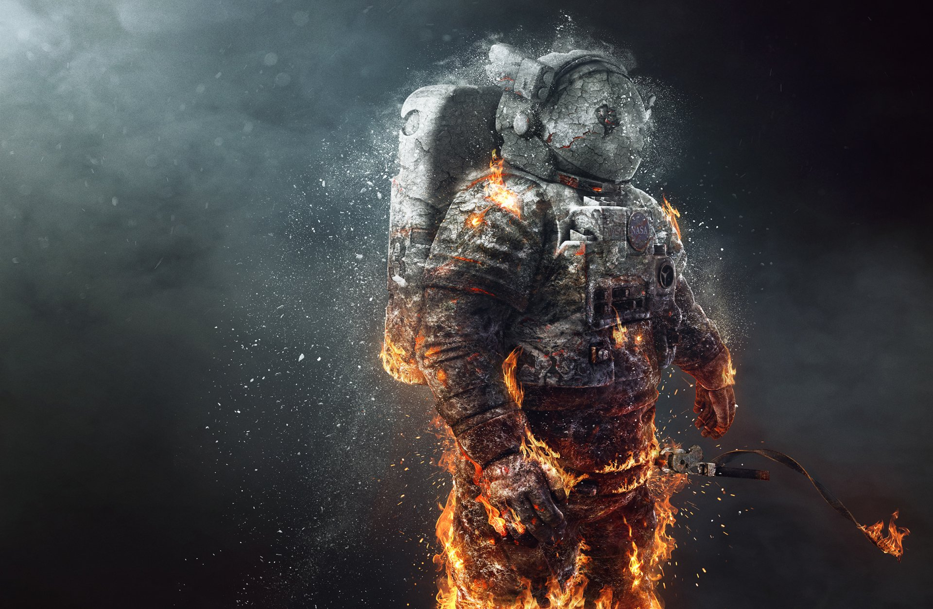 Sci Fi - Astronaut  Fire Wallpaper