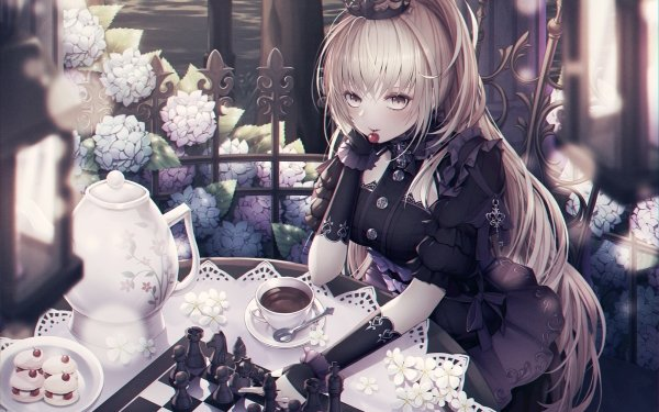 Anime Original Long Hair Blonde Ponytail Crown Yellow Eyes Chess Teacup Teapot Carnation Flower HD Wallpaper | Background Image