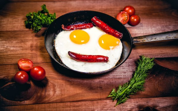 Food Still Life Tomato Egg Face Sausage HD Wallpaper | Background Image