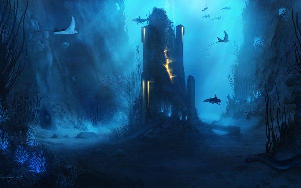 Fantasy Underwater Manta Ray Shark HD Wallpaper   Background Image