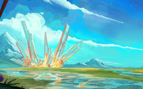 Fantasy Landscape Nature Crystal HD Wallpaper   Background Image