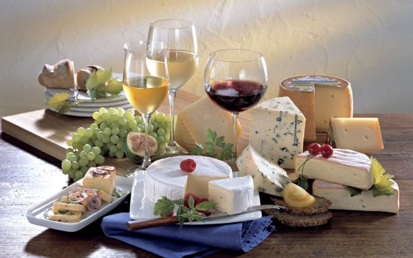 Food Still Life Cheese Glass Grapes Wine HD Wallpaper | Background Image