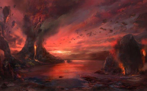 Fantasy Landscape Nature Volcano Smoke HD Wallpaper   Background Image