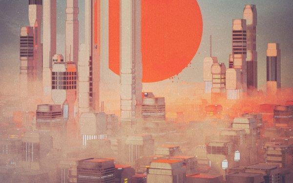 Sci Fi City Building Sun Fog HD Wallpaper | Background Image