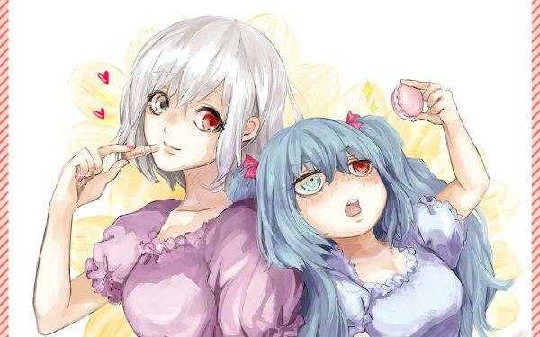 Anime Tokyo Ghoul:re Saiko Yonebayashi Heterochromia Lipstick Smile White Hair Blue Hair Long Hair Red Eyes Tokyo Ghoul Pink Dress Purple Dress Ken Kaneki Haise Sasaki HD Wallpaper | Background Image
