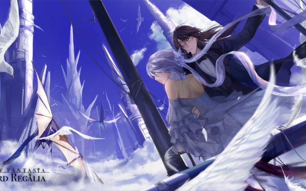 Anime Pixiv Fantasia Sword Regalia Long Hair White Hair Brown Hair Dragon Bird Short Hair Yellow Eyes Glasses HD Wallpaper | Background Image