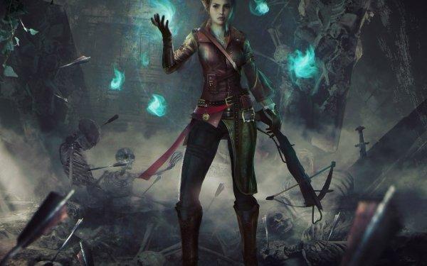 Fantasy Women Warrior Woman Warrior Crossbow Magic Skeleton Arrow Elf HD Wallpaper | Background Image