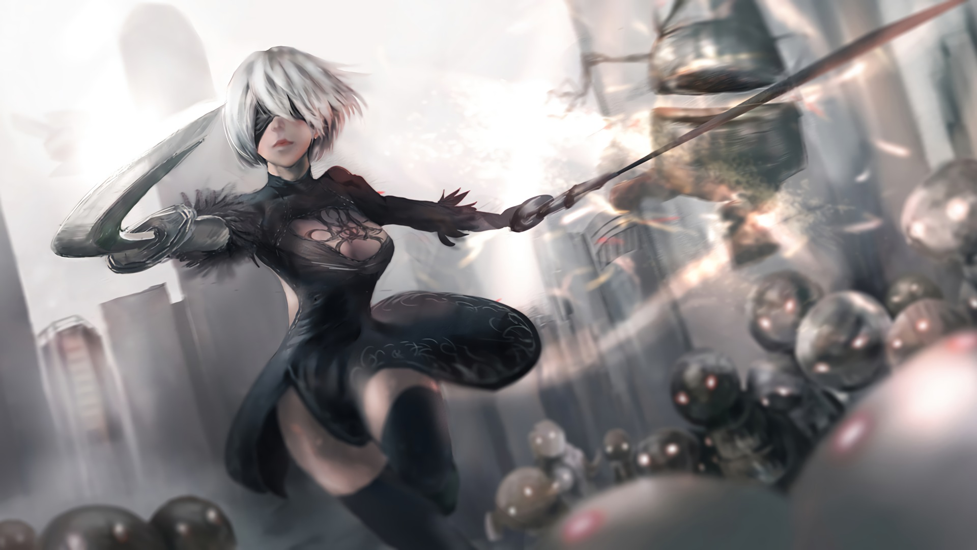 nier automata - 2b full hd wallpaper and background image
