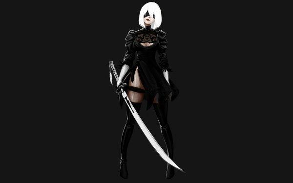 Video Game NieR: Automata YoRHa No.2 Type B White Hair Short Hair Weapon Katana Sword Blindfold Glove Dress Black Dress Thigh Boots Thigh Highs HD Wallpaper   Background Image
