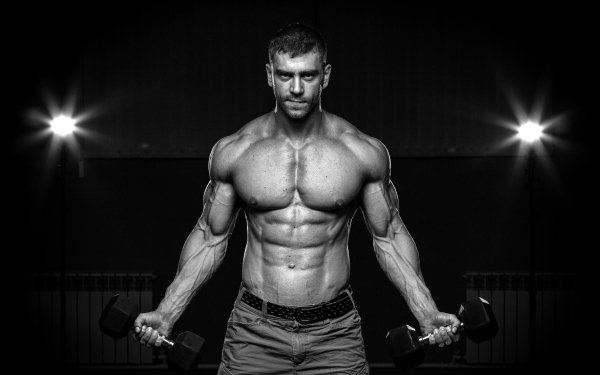 Sports Weightlifting Muscle Black & White Model HD Wallpaper | Background Image
