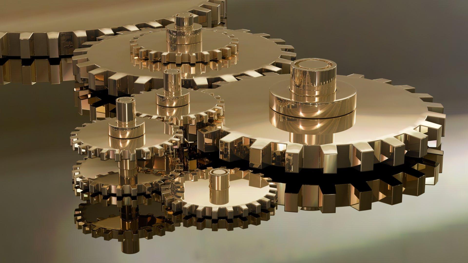 Man Made - Gear  Gears Reflection Wallpaper