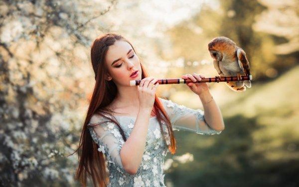 Women Mood Model Long Hair Redhead Owl Bird Flute Depth Of Field Dress HD Wallpaper | Background Image