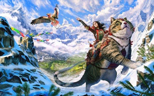 Fantasy Women Cat Eagle Landscape Mountain HD Wallpaper | Background Image