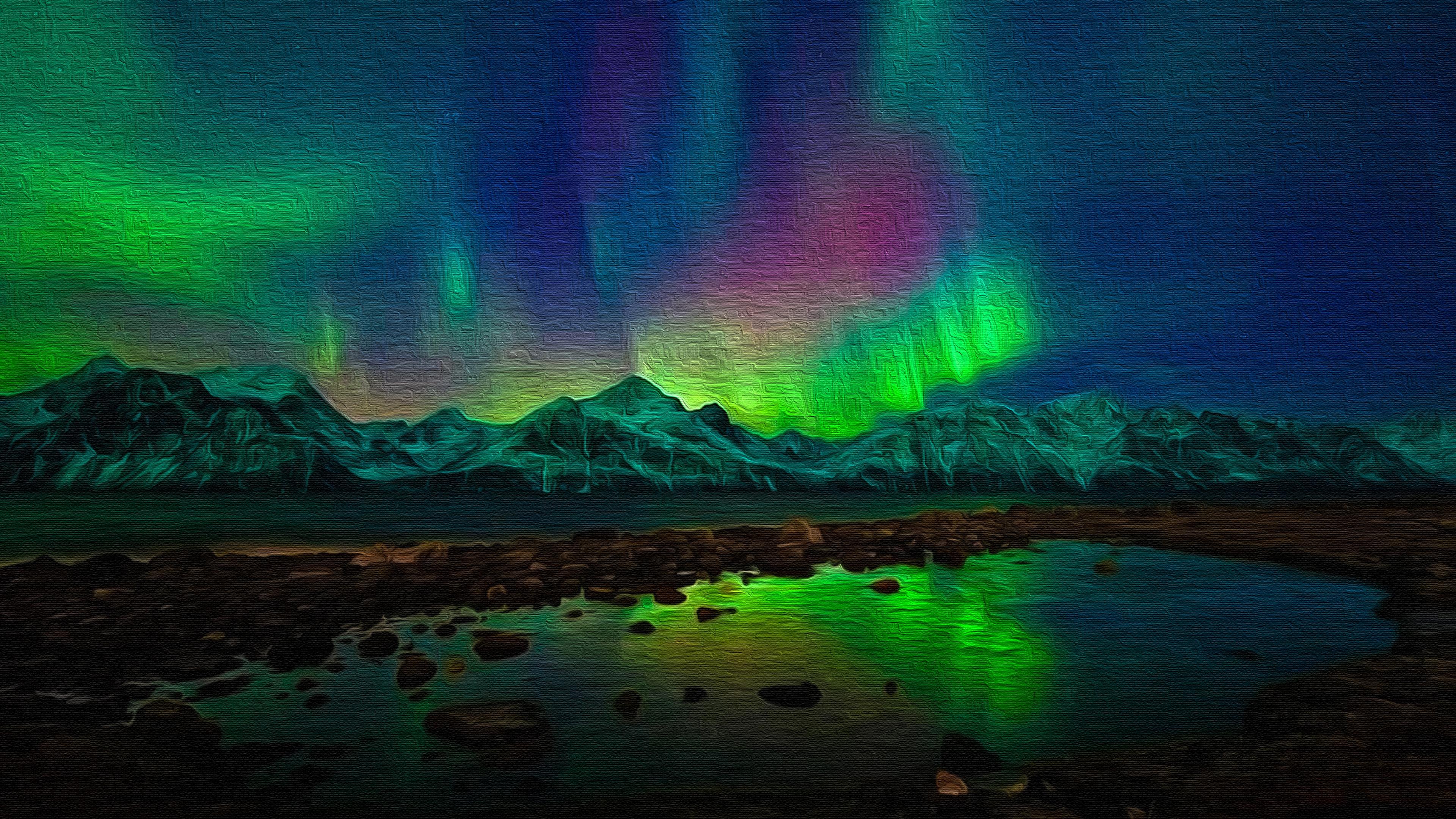 Aurora Borealis Oil On Canvas 4k Ultra Fondo De Pantalla