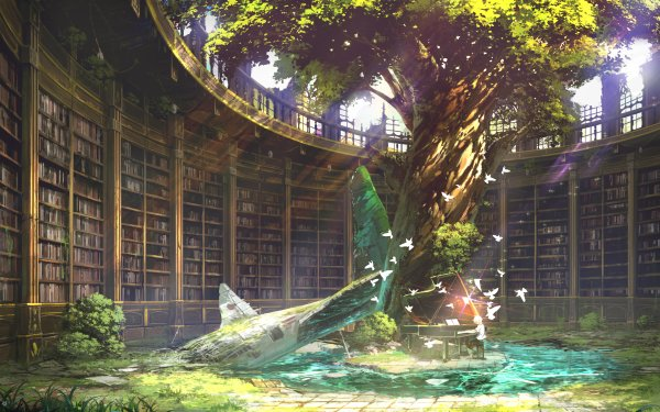 Anime Original Library Tree Piano Ruin Post Apocalyptic Light HD Wallpaper | Background Image