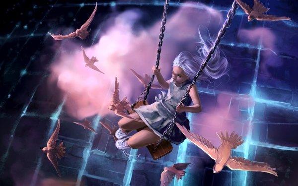 Fantasy Child Bird Little Girl White Hair Swing HD Wallpaper | Background Image