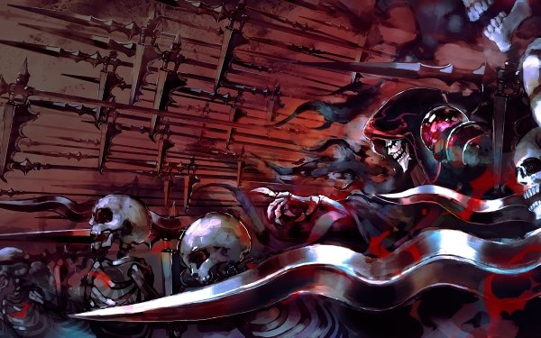 Anime Overlord Ainz Ooal Gown Esqueleto Cráneos Magician Dagger Fondo de pantalla HD | Fondo de Escritorio