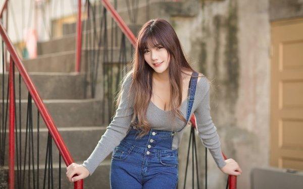 Women Asian Model Brunette Smile Long Hair HD Wallpaper | Background Image