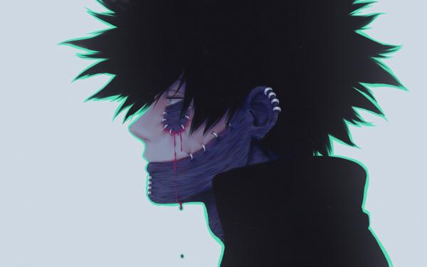 Anime My Hero Academia Dabi Scar Black Hair Green Eyes Blood HD Wallpaper | Background Image