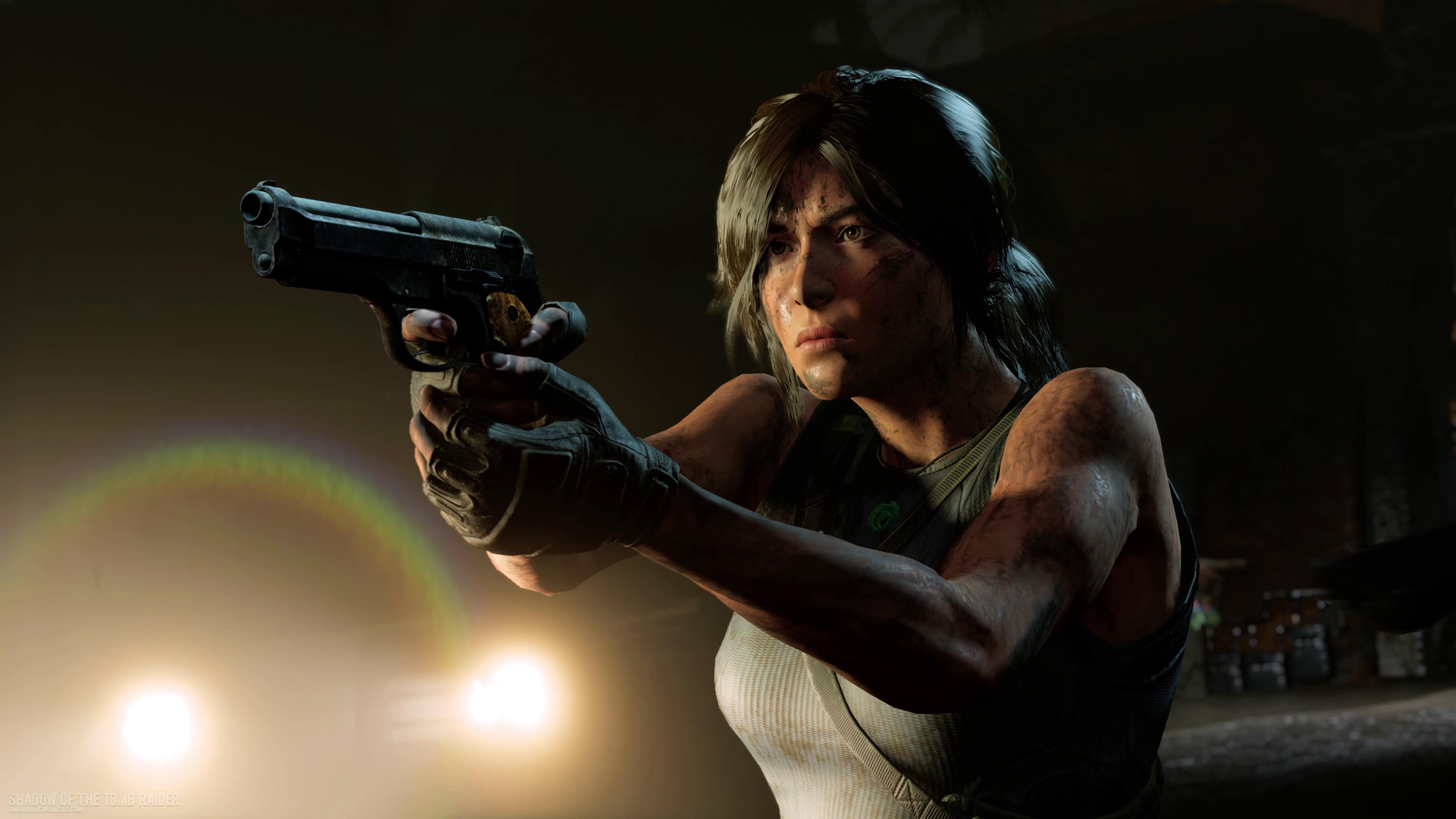 Shadow Of The Tomb Raider Lara Croft And Pistol 4k Ultra