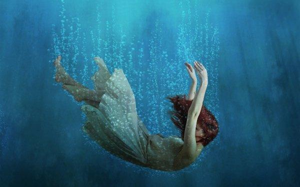 Femmes Artistique Woman Fille Eau Falling Red Hair Fantaisie Fond d'écran HD | Arrière-Plan