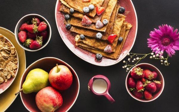 Food Breakfast Still Life Fruit Apple Strawberry Crêpe HD Wallpaper | Background Image