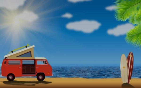 Vehicles Artistic Volkswagen Van Surfboard Summer HD Wallpaper | Background Image