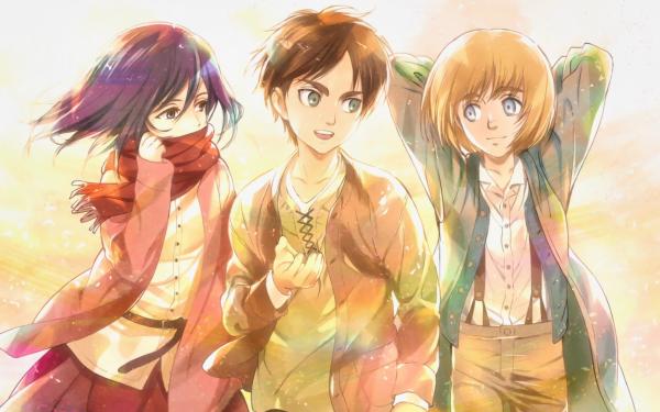 Anime Attack On Titan Eren Yeager Mikasa Ackerman Armin Arlert Boy Girl Scarf Brown Hair Green Eyes Blonde Blue Eyes HD Wallpaper   Background Image