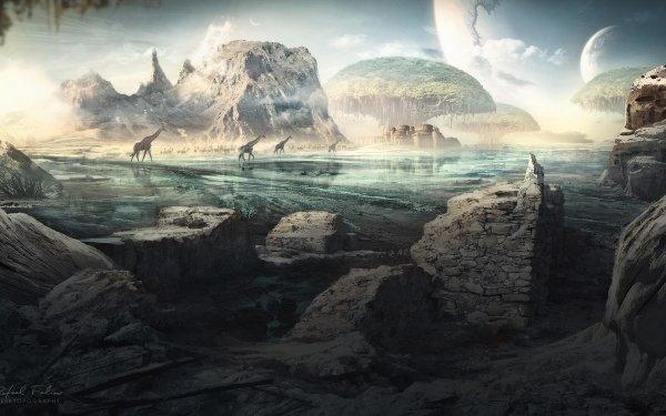 Artistic Desktopography Fantasy Animal Landscape HD Wallpaper   Background Image
