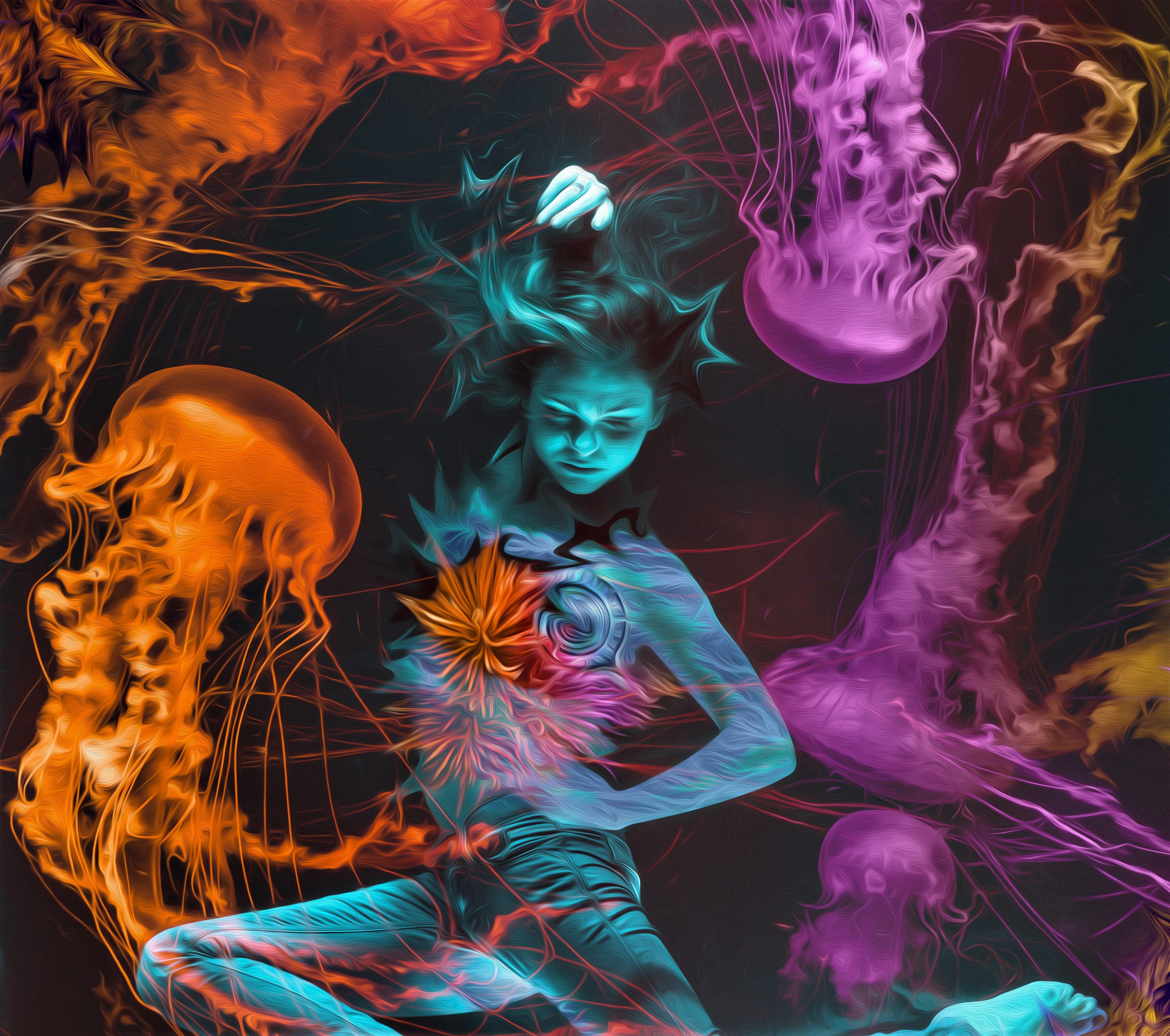 Neon Mermaid 4k Ultra Hd Wallpaper Background Image 3840x3400 Id 952596 Wallpaper Abyss