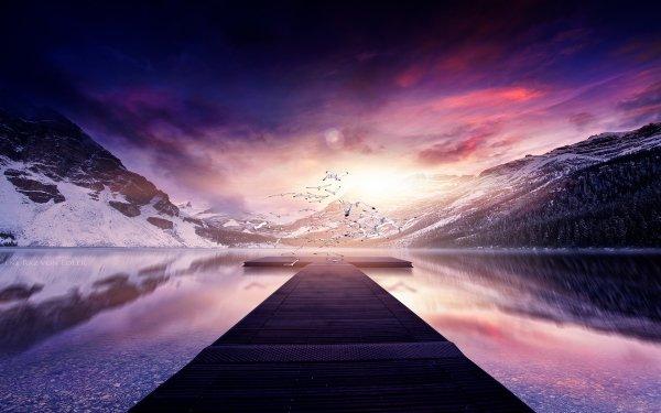 Fantasy Landscape Pier HD Wallpaper | Background Image