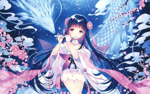 Anime Original Kimono Flute Long Hair Black Hair Moon Cherry Blossom Pink Eyes HD Wallpaper | Background Image