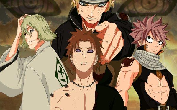Anime Crossover Naruto Naruto Uzumaki Fairy Tail Natsu Dragneel Pain Yahiko Kisuke Urahara Bleach Fondo de pantalla HD | Fondo de Escritorio