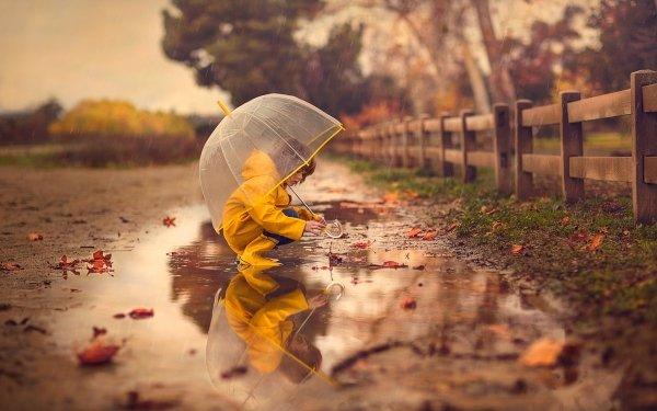 Fotografía Niño Chica Little Girl Paraguas Lluvia Reflejo Fondo de pantalla HD | Fondo de Escritorio